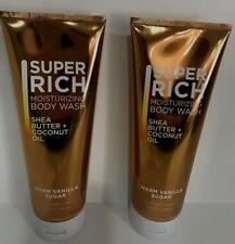 2 WARM VANILLA SUGAR Super Rich Moisturizing Wash Bath Body Works Shea Coconut