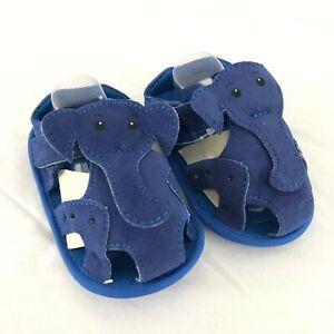 Baby Boys Fisherman Sandals Elephant Faux Leather Soft Sole Blue Size 3