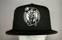 New Era NBA Boston Celtics Black Team Logo Hi Crown 9FIFTY Snapback Hat, New