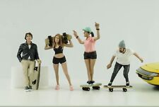 Skatebord Figur Set 4 Skateboarder Frau Mann cool 1:18 American Diorama no car
