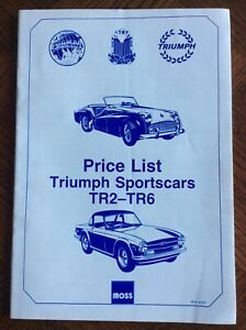 Moss - May 1992 Triumph Sports Cars TR2 - TR6 Spare Parts Price List Catalogue