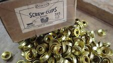 20 SOLID BRASS no 12 RECESSED PATTERN SCREW CUPS FOR 12 GAUGE SCREWS NOS BEACON