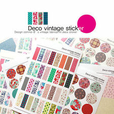 6 Sheet Diary Decorative Adhesive Vintage colorful deco Stickers Craft Decal Tag