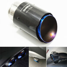 "Blue Car SUV Real Carbon Fiber ID:2.5""/60mm Glossy Exhaust Pipe Tip OD:3.5""/89mm"