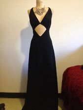 *MICHAEL KORS*  Runway Black Stretch Wool CUT OUT Maxi Dress Gown US 2