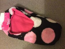 Ladies Black & Pink Soft & Warm Bed Socks  - Size 5 - 6 - Brand New