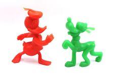 Vintage Disney Donald Duck & Pluto Red Green Marx Plastic Toy Figures