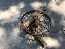 Antique 8 spoke cast iron wagon wheelbarrow cart wheel With Brackets