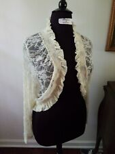 "White ""Dashwood"" Lace Bolero Cover Up The Pyramid Collection Size L FREE SHIP"