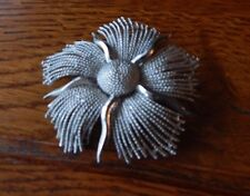 "Signed LISNER Brooch Pin Textured Silver Tone Abstract Flower 2 3/4"" Wide"