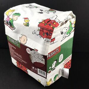 New Charlie Brown Christmas Twin Flannel Sheet Set 3 Pieces Snoopy Peanuts