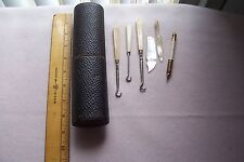 Antique Vtg Sewing Items MOP Bone Hook Old Case LOT