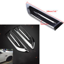 1 Pair Car 3D Air Vent Decoration Sticker Engine Side Cover Silver + Black ABS