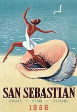 San Sebastian - Spain - Espana 1956 Travel  Vacation A3 Art Poster Print