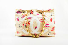 VINTAGE Chanel Cream Quilted Lip Print 'CC' Stitched Gold Hardware Chain Bag