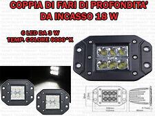 KIT 2 FARI SUPPLEMENTARI PROFONDITA' AUTO FUORISTRADA 12 V 18 W IP67 DA INCASSO