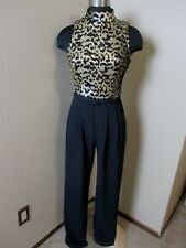 Vince Camuto Sleeveless Sequin Jumpsuit Black Gold Belted Size 2 New