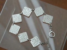 Sterling Silver Textured TBar Bracelet 17.8gr