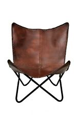 Brook Brown Butterfly Chair Iron Stand and Leather Cover Indoor Outdoor Chair