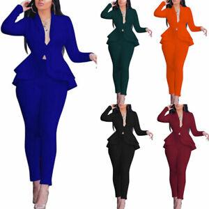 2Pcs/set Women Solid Blazer Office Outfits Business Jacket Pants Suit Size S-2XL