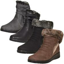Ladies Ankle Boots Warm Low Wedge Heel Faux Fur Winter Comfort Shoes UK Size 3-8