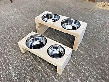 Wooden Dog Bowl Stand - 15cm - Natural