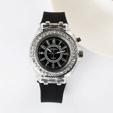 Fashion Silicone Diamond Watch LED Luminous Colorful Lights Women Ladies Watch