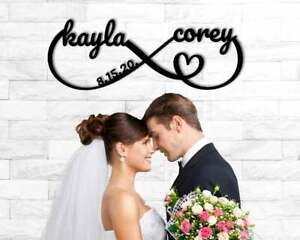 Personalized Name Sign Black Metal Anniversary Wedding Date Sign Newly Wed Gift