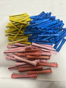 LOT 100  BLUE YELLOW PINK PERM RODS Professional Beauty School Curlers Rollers
