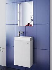 Waschplatz weiß Waschbecken mit Schrank + Spiegel WC Gäste Toilette klein schmal