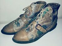 VTG 80'S ZODIAC*TAN FLORAL PAISLEY LACE LEATHER ANKLE BUCKLE LACE UP BOOTS*8
