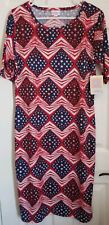 LuLaRoe Stars Chevron Stripes XL Julia Fitted Dress Americana Red White Blue NEW