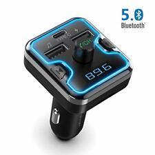 TECKNET Bluetooth FM Transmitter, Bluetooth 5.0/QC3.0 Type C Charge Car MP3