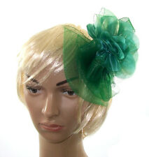 """Large 10"""" Creen hair fascinator for Weddings, Races Ascot or Prom"""