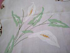 "Madeira Colorful Calla Lily Applique Embroidered Linen Tablecloth 43""x42"""