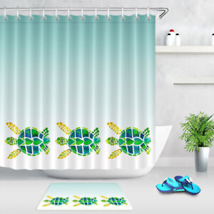"""Abstract Colorful Sea Turtles Lake Blue Waterproof Fabric Shower Curtain Set 72"""""""