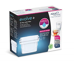 Aqua Optima EPS612 Evolve+ 30 Day Water Filter Cartridge, White, 6 pack up to 6