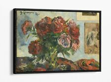 PAUL GAUGUIN, VASE WITH PEONIES -FLOATER EFFECT FRAMED CANVAS ART PRINT