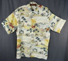 Pierre Cardin Men's Hawaiian Shirt M Rayon Aloha Beach Ocean Palm Trees Lobsters