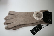 "NWT Hannah Rose 100% Cashmere Smart Phone Texting 12"" Gloves Beige w/ decor"