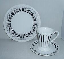 Kaffeegedeck 3-teilig Tasse mit Untertasse und Teller Noten Musik Tastatur