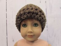 """Cute Turquoise & Brown Crocheted Hat fits American Girl Dolls 18"""" Dolls"""