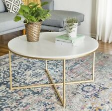 Round Metal Coffee Table Living Room Furniture Gold White Glass MDF Marble Top