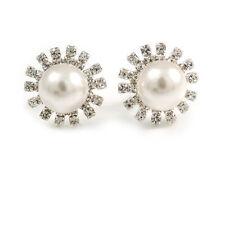 Nupcial Diamante imitación perla Stud pendientes en rodio chapado - 17mm de diámetro