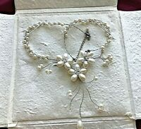 """NOVICA """"WHITE PEARL BOUQUET""""  BRIDAL PEARL NECKLACE  HAND CRAFTED  BY BUSARIN"""