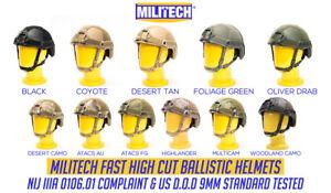 MILITECH NIJ IIIA 3A 0106.01 Dial Liner High Cut Ballistic Bulletproof Helmet