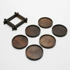 Set of 6 Danish Rosewood Glass Coasters in Holder Drink Cocktail Mid-Century Bar
