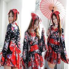 Outfit Ladies Kimono Uniform Lolita Maid Costume Anime Cosplay Set Dress #