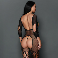 Sexy Lingerie Bodystocking Dress Fishnet Bodysuit Open Bum & Breasts Outfit SEO