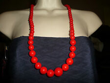 #61 vtg costume necklace  long graduated RED  beads